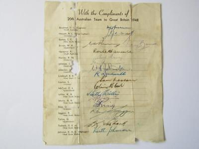 Don Bradman and 1948 Invincibles Team Sheet Signed! Rare