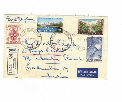 Australia 1956 Olympics  on Registered Plain FDC, cds RINGWOOD Vic