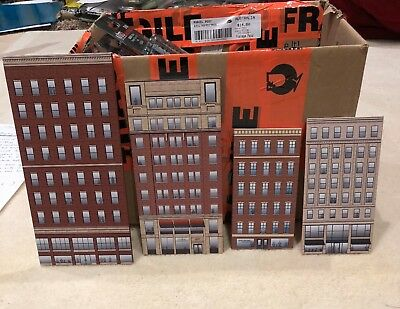 N Scale Background Building Flats, thin profile, shops, offices, etc x 12