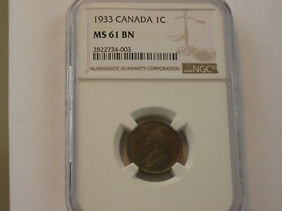 Ngc Graded Ms 61 Bn 1933 Canada 1 Cent