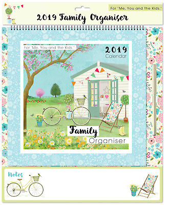 2019 Family Organiser Planner Calendar Wall Hanging Wire Bound With Pen