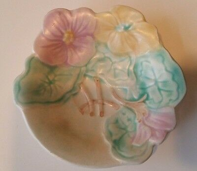 Avon Ware Dish Leaf Floral Pansy Hand Painted Plate England Vintage