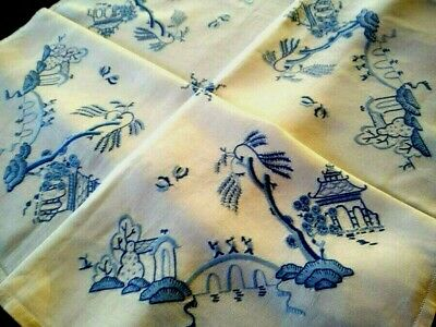 "EXQUISITE Blue Willow ~ Heavily & Skilfully Hand Embroidered Tablecloth 41""Sq"