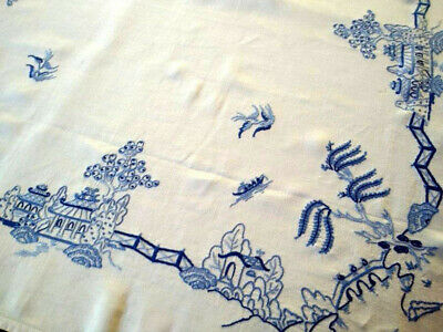 "OUTSTANDING Blue Willow   ~ Heavily Hand Embroidered Large Tablecloth 49"" X 51"""