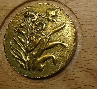 "NICE 1 1/16"" French Tight Top  Brass Antique Button 696:6"