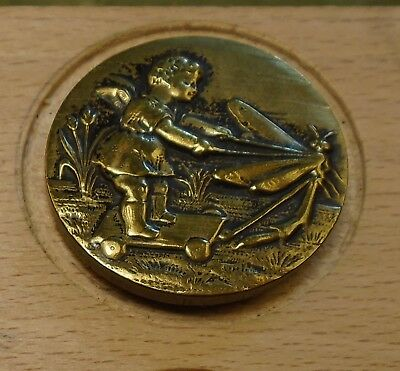 "NICE 1 1/16"" French Tight Top  Brass Antique Button 696:7"