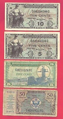 U.S. 1948-1969 Military Payment Certificates 5-10-50 Cents - Lot of 4 Notes