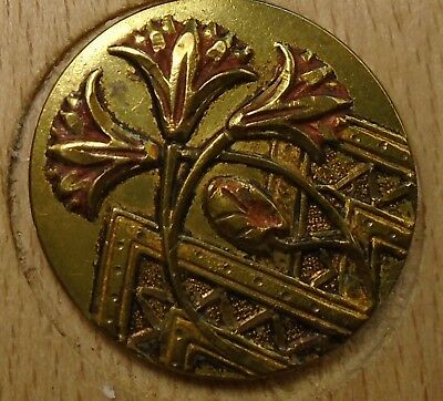 "NICE 1"" French Tight Top  Nicely Tinted Brass Antique Button 696:12"