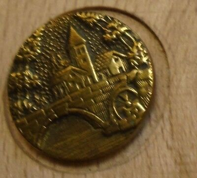 "NICE 11/16"" French Tight Top  Brass Antique Button 696:22"