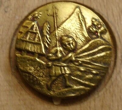 "NICE 11/16"" French Tight Top  Brass Antique Button 696:24"