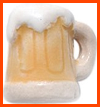Shipwreck Hand Crafted Ceramic Frosty Beer Mug Beads 11Mm 4 Per Pack