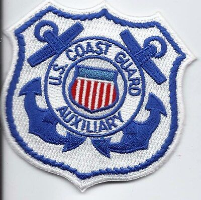 "United Staters Coast Guard (USCG) patch ""Auxiliary white"" 3-3/8 X 3-3/8 inch"