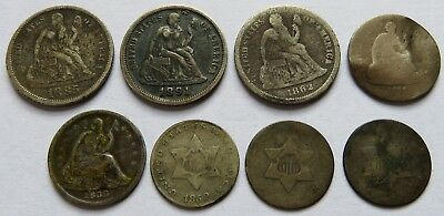 1862/85/91 Seated Liberty Dimes & 1838+Half Dimes + 3 Cents Silver coins(170945X