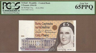 IRELAND-REPUBLIC: 5 Pounds Banknote,(UNC PCGS65),P-75a,26.04.1994,No Reserve!