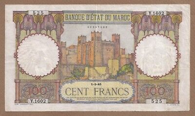 MOROCCO: 100 Francs Banknote,(XF),P-20,01.03.1945,No Reserve!
