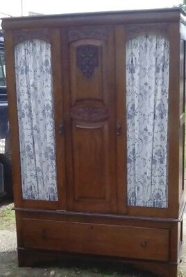 beautiful hand carved antique armoire linen cupboard wardrobe courier pickup ok