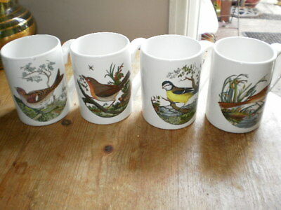 """Portmeirion Birds Of Britain - 4 Mugs (Approx 4"""" Tall) Different Birds On Front"""