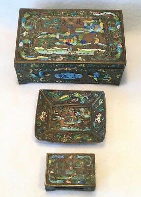 Antique 19th c. Chinese Export 3pc Hand Enameled Brass Smoking Set - AWESOME!