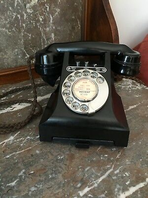 A Rare Vintage 1950's  Bakelite Black GPO 328/314 Converted and Working.