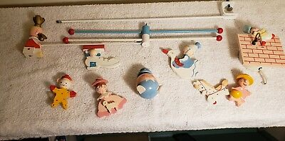 Vintage Hand Painted Wooden Mother Goose Crib Mobile - Irmi - Box