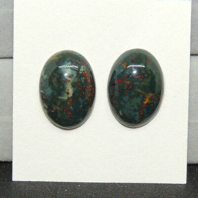 Bloodstone Cabochons 13x18mm with 5.5mm dome from India set of 2 (13814)