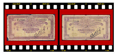 2 Pcs X P-21 Macau Ultramarino 1944 50 Avos Wwii Different Block Letters