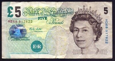 GREAT BRITAIN UK P-391b FIVE 5 POUNDS 2002 SIGN. M. Lowther BANKNOTE QEII