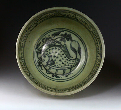*SC* EXCEPTIONAL NORTHERN THAI POTTERY BOWL w. FISH MOTFIS, 14th.-16th. cent!