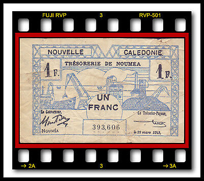 NEW CALEDONIA P-55a UN FRANC L. 29.01.1943 / 29.03.1943  EMERGENCY WWII BANKNOTE