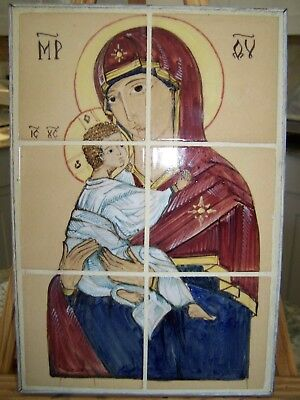 European Grand Tour Early 20 Century Tile Plaque The Madonna And Christ Child