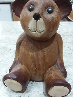 """Hand Carved vintage Solid Wooden Teddy Bear ornament   7.25"""" tall ."""