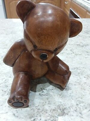 Hand Carved vintage Solid Wooden Teddy Bear ornament   6.5 tall .