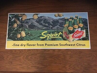 """Rare 1963  27"""" Long Squirt Soda Paper Sign"""