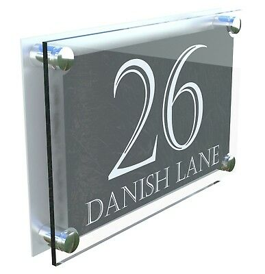 Modern large anthracite & silver house door street signs plaque ParA4-24WA