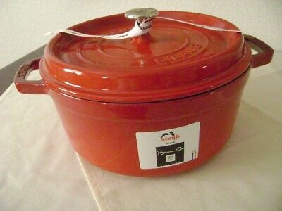 NEW-  STAUB Enameled Cast-Iron Large Round Cerise Red Dutch Oven 4+ Qt-9-3/8""