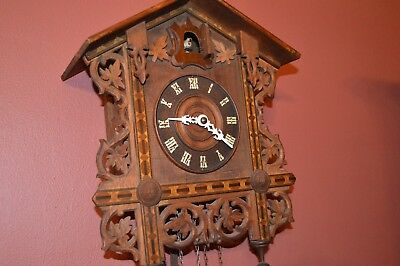 Vintage Cuckoo Clock of Fine Woodwork Late 1800's