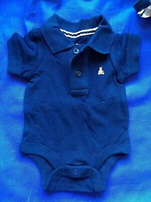 baby gap boys vest 0-3 months, cotton, blue, collared Fred Perry t-shirt style