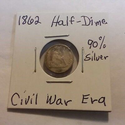1862 Civil War Era Seated Liberty Half Dime 90% SILVER