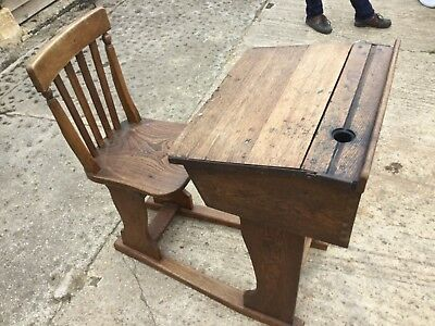 Antique Oak sliding School Desk price reduced