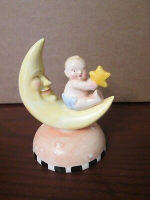 cME INK 1994 MARY ENGELBREIT Ceramic Figurine - BABY Sitting On The Moon w STAR