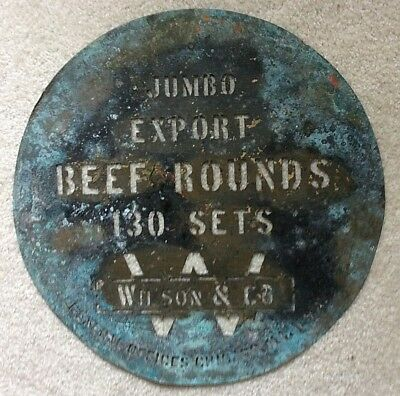 "Antique Round Brass Wilson & Co Cedar Rapids IA Meat Barrel Stencil *18"" *OOAK!"