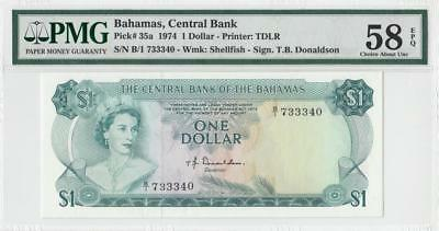 1974 British Colony Bahamas Qeii $1 (( Pmg 58 Epq ))