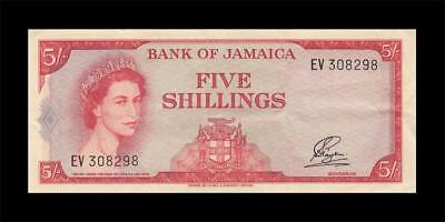 1960 British Colony Jamaica 5 Shillings Qeii 5/- (( Ef+ ))