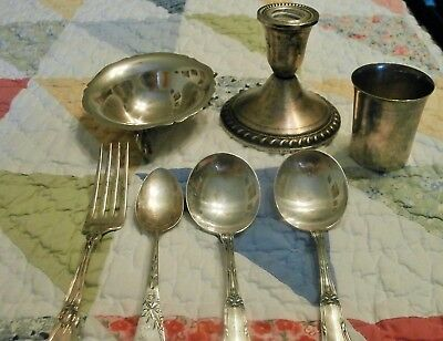 240G Sterling Silver Mixed Lot Flatware 900 Alpaca Candy Dish