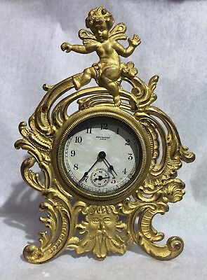 Antique New Haven USA Gold Gilded Metal Cherub Mechanical Wind Up Clock Works