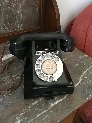 A Rare Vintage 1950's  Bakelite Black GPO 312 Converted and Working.
