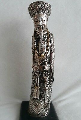 Antique Intricately Carved Silver Chinese Emperor Chinoiserie Figurine. RARE.