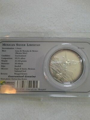 2001 mexican libertad 1 oz silver in LITTLETON package!