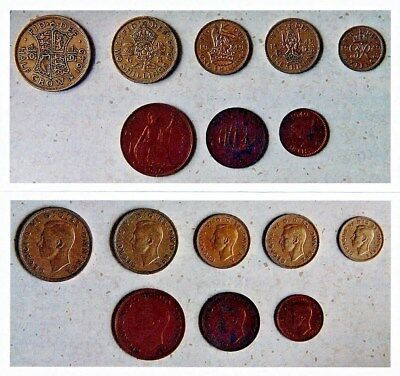 Lot of 8 Different (Farthing - Half Crown), 1949 Great Britain Coins (George VI)
