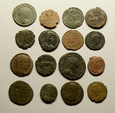 Lot Of 16 Imperial Roman Bronze Coins For Identifying - 020